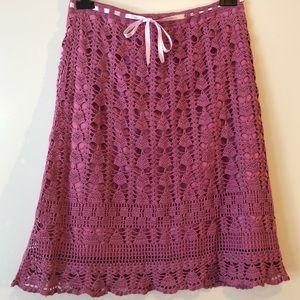 Betsey Johnson Crochet Lace Ribbon Pink Skirt L